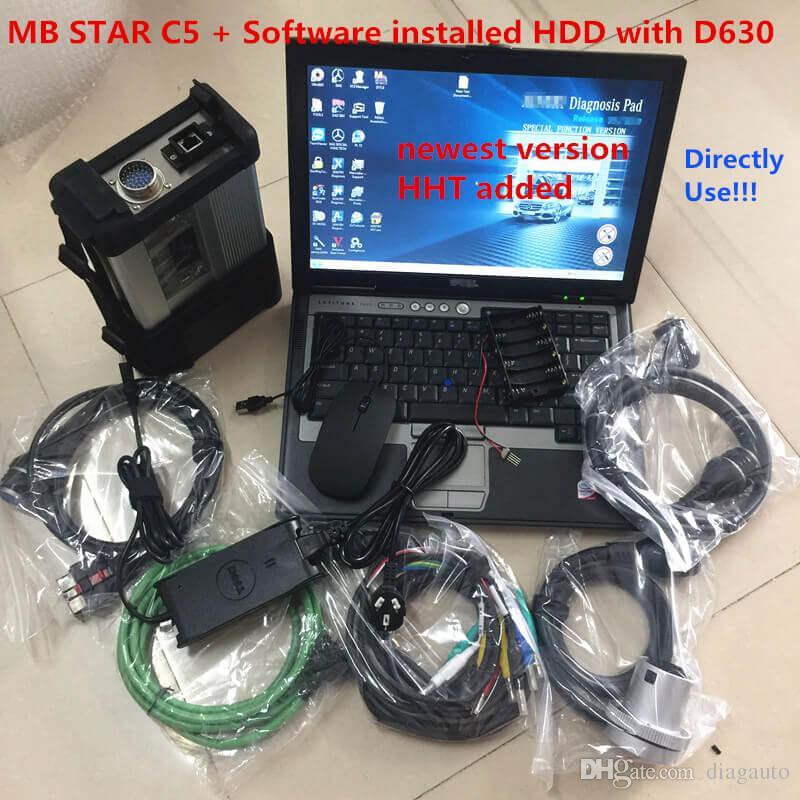 Allready MB نجمة C5 SD اتصال C5 سيارة تشخيص ماسحة ميغابايت ميغابايت C5 D630 محمول مع 320 جرام HDD 2020.06V Soft-Ware Vediamo / X / D / HHT
