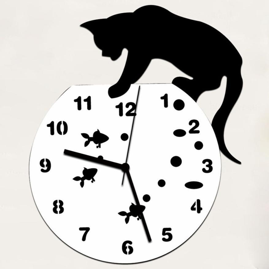 New Qualified Naughty Cat Acrylic Clock Wall Clock Modern Design Home Decor Watch Wall Sticker Dropship D23Au23
