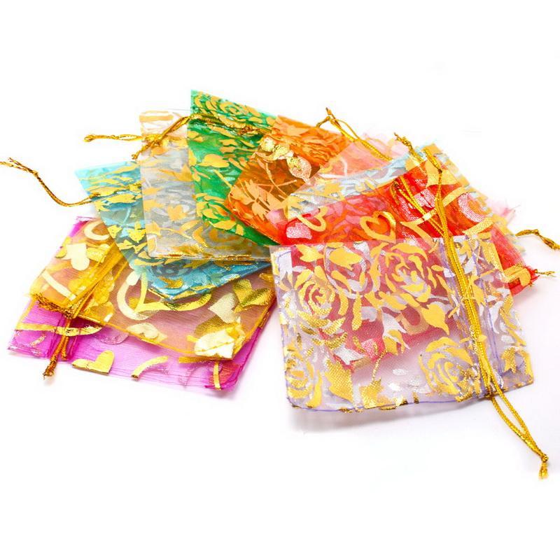 Горячая Распродажа Роза Цветок Лист Большой Органзы Мешок Drawstring Мешки Для Свадебной Вечеринки Подарочная Упаковка Сумки