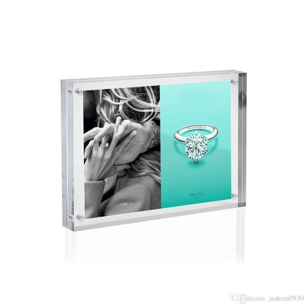 """Cadre photo en acrylique transparent, support à tableau en plexiglas magnétique, afficheurs debout doubles (6x8 """")"""