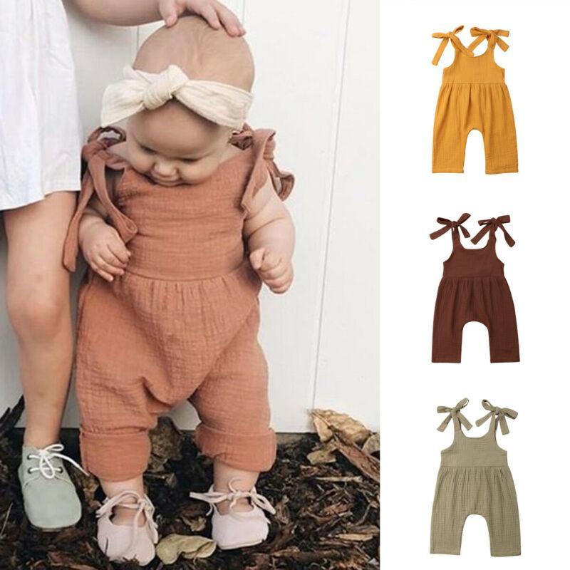Infant Baby Girls Boys Cotton Linen Romper Jumpsuit Bodysuit Playsuit Outfits US