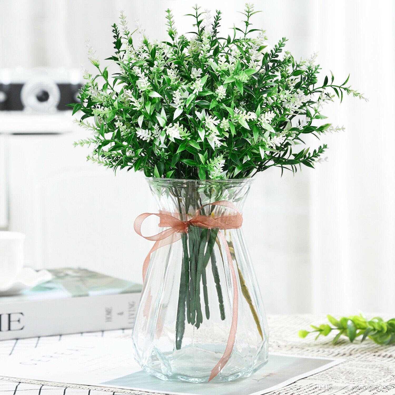 6pcs / lotto piante artificiali Lavanda simulazione Spazi verdi arbusti Outdoor Wedding Decor falsificazione fiore di simulazione fiori di seta