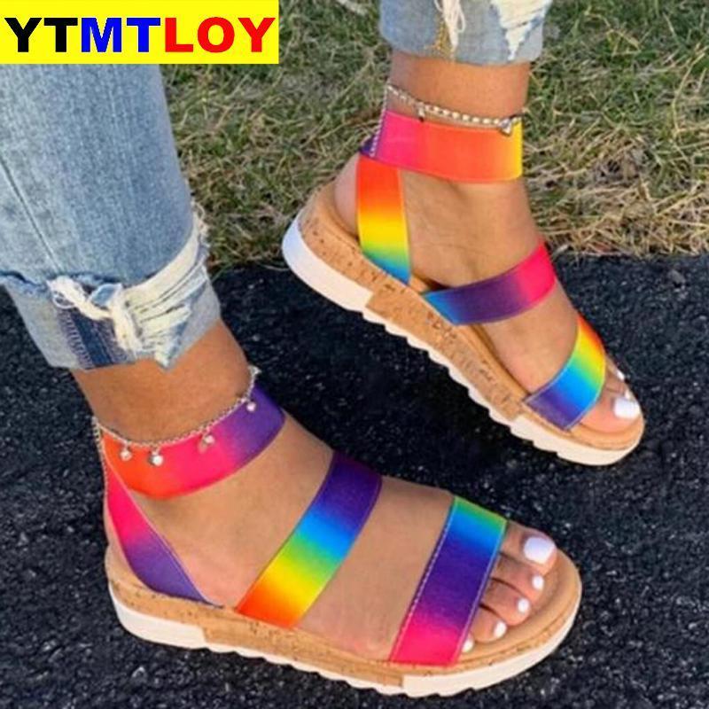 Оптовый Большого размер 35-43 Женского Лето многоцветного Платформа Сандалия Радуга Ins Женщина Мода Обувь Женщина Гладиатор Open
