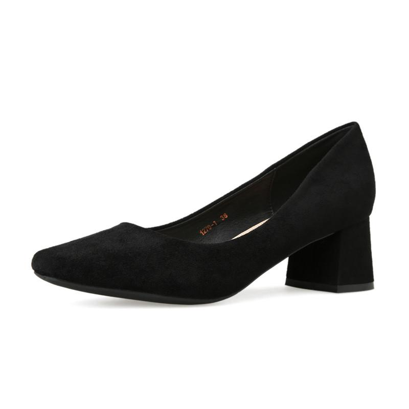 Квадратный носок обуви Женщина Большой размер 43 Котенок пятки насосов Дамы Платье пятках Женск и Блок пяток женщин Рабочие ботинки пяток