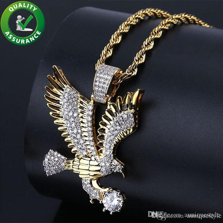 Iced Out Pendant Hip Hop Bling Chains Jewelry Men Designer Necklace Mens Gold Chain Pendants Luxury CZ Diamond Eagle Charm Hiphop Jewelry