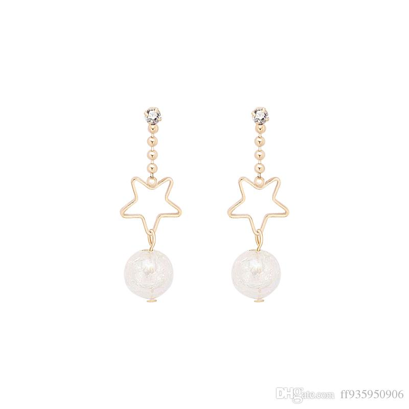 Fairy Tale Dream Glass Ball Earrings Female Korean Sweet Geometry Hollow Star Czech Drill Ear Nail E940