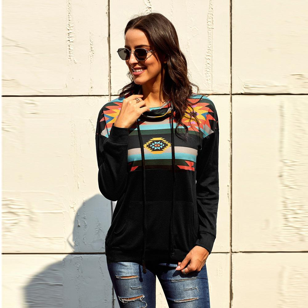 Женщины толстовка толстовки дамы Женские толстовки женщины печати с длинным рукавом блузка с капюшоном карманный пуловер топы рубашка SY252898