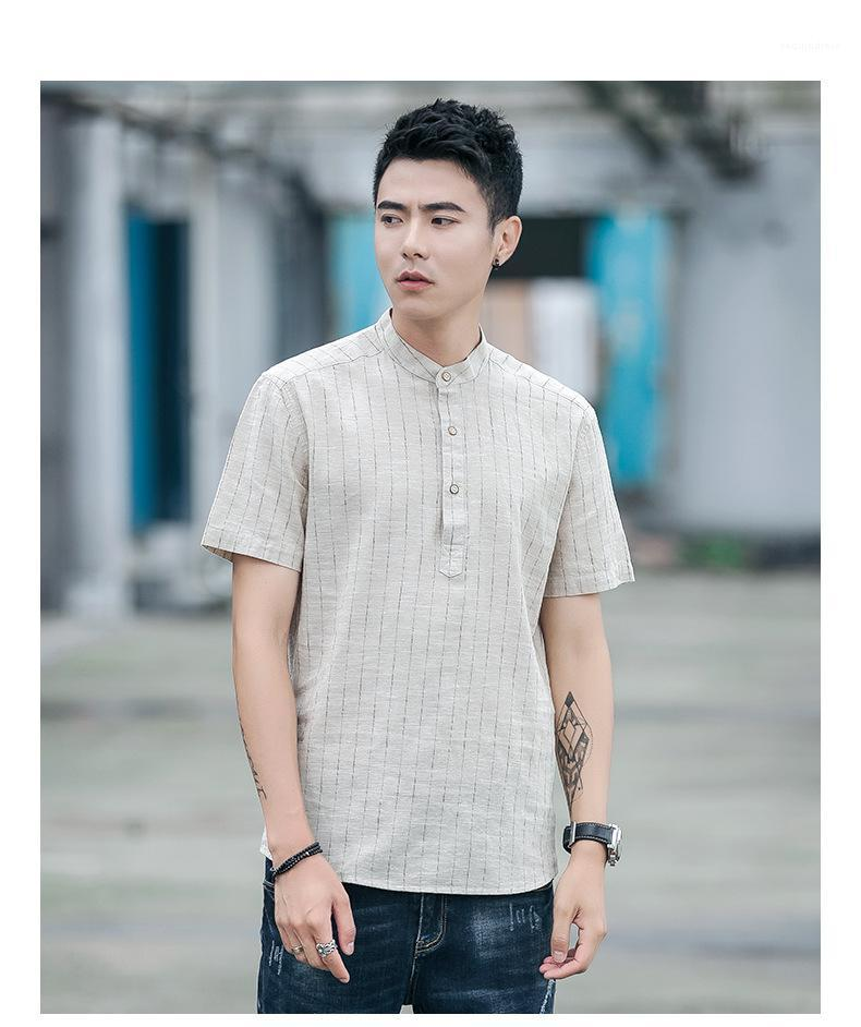 Tees Striped Button Short Sleeve Pullover Shirts Summer Mens Tops Linen Stand Collar Mens Summer Tshirts Solid Color Casual Light