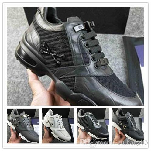 Homens Leather Sneakers Punk Estilo Runner, PP calçados casuais decorada com o crânio do metal Iconic for Free tempo Tamanho 38-45 0a94