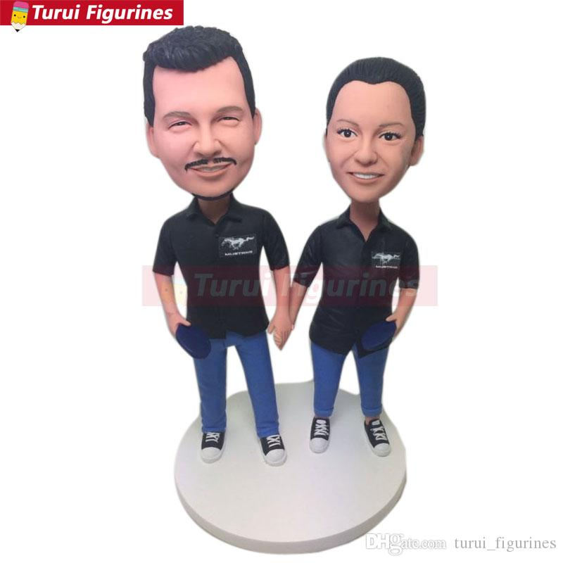Personalized Husband Father Gift Csutom Bobble Head Clay Figurines Based on Customers Photos Birthday Cake Topper Bday Gift Decorations