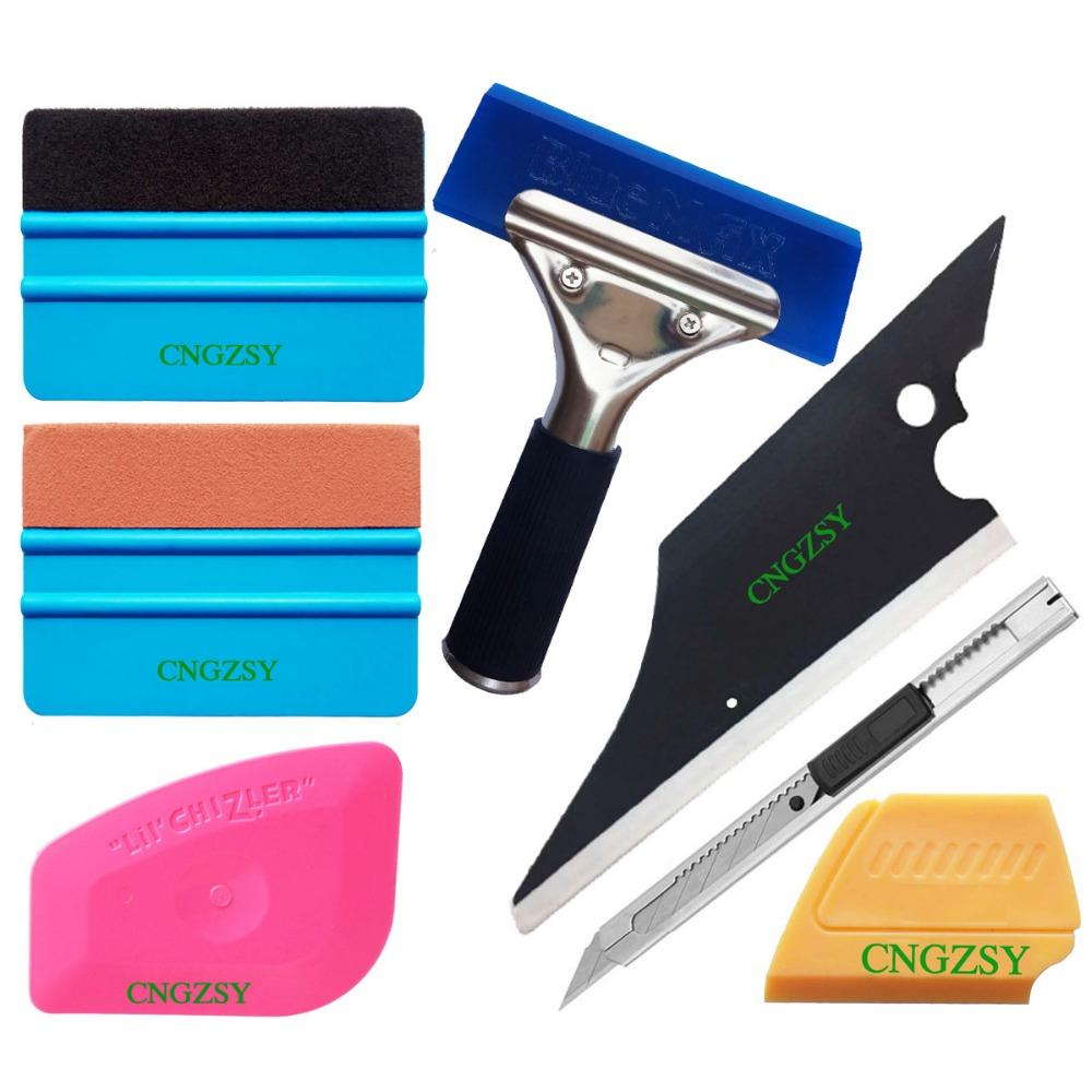 CNGZSY 8 in 1 Vehicle Glass Protective Film Car Window Wrapping Tint Vinyl Installing Tool: Squeegees Scrapers 8 Film Cutters