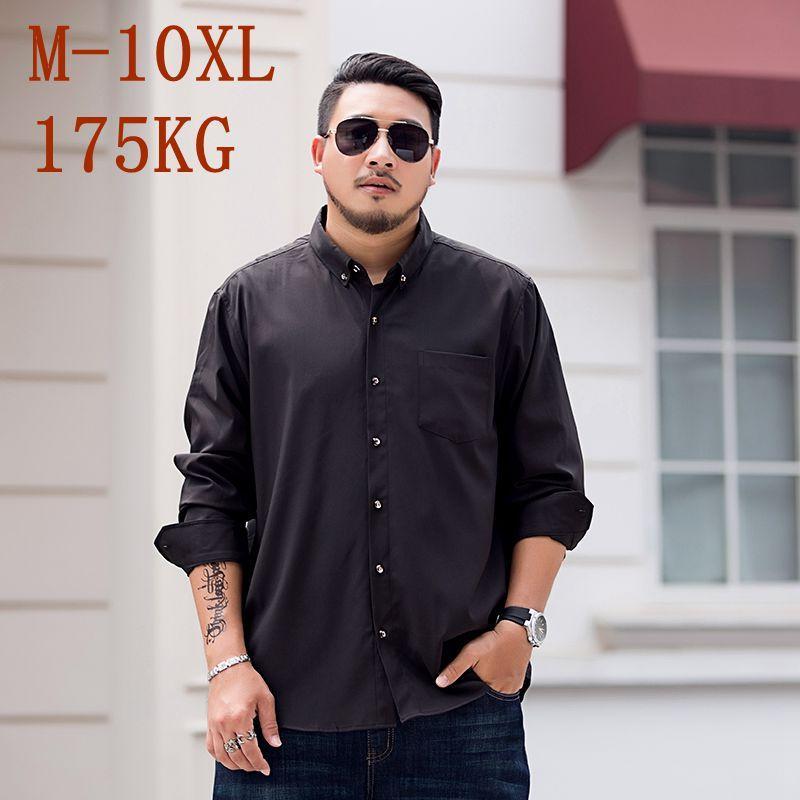 10XL 8XL 7XL 2020 nouvelle couleur pure robe formelle T-shirt manches longues hommes classique travail Noir Marque Porter Hommes d'affaires Chemise décontractée
