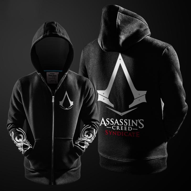 2017 Cosplay Outono Inverno Assasins Creed Hoodie Men camisola preta do traje com forro de lã Assassins Creed Mens Jackets Hoodies