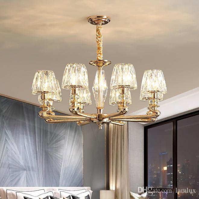 Новое поступление сплава цинка подвеска хрустальная люстра освещение для гостиной спальни творческих золото свисающие люстры зажигает светильник