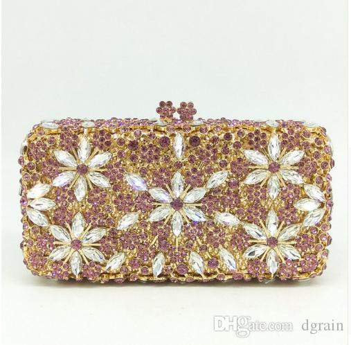 Dgrain Women Diamond Wedding Bridal Handbag Clutches Bag Flower Hollow Out Crystal Rhinestone Flower Evening Clutch Bag Minaudiere Bag