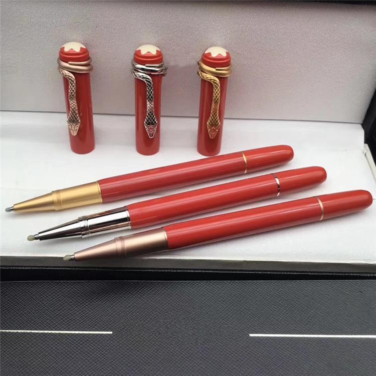 جديد فاخر MB العلامة التجارية القلم سلسلة التراث سلسلة الرول الكرة القلم مع ثعبان كليب القرطاسية مكتب الكتابة الأقلام الراتنج العلامة التجارية + إعطاء أكياس المخملية