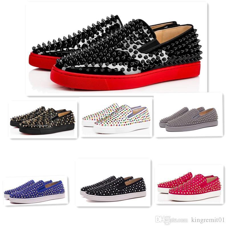 Erkek Günlük Ayakkabılar Düşük Gümüş Tasarımcı Tam Dikenler Merdane Tekne Flats kaykay Loafers Tasarım Erkek Kadın Ayakkabı Sıcak Kırmızı Alt Sneakers Womens