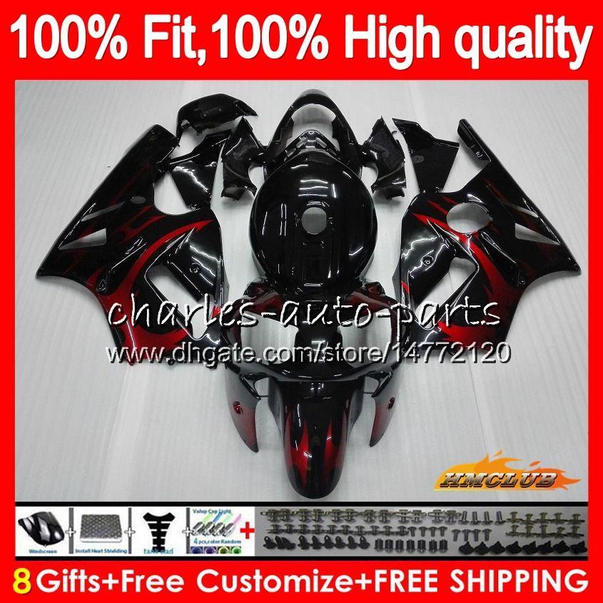 100%подходят инъекции для Kawasaki ZX1200 ZX в 1200 с 1200 кубов 12Р 00 01 48HC.6 ZX 12 R ZX12R 00 01 ZX-12R 2000 2001 red flames новый комплект обтекателя OEM