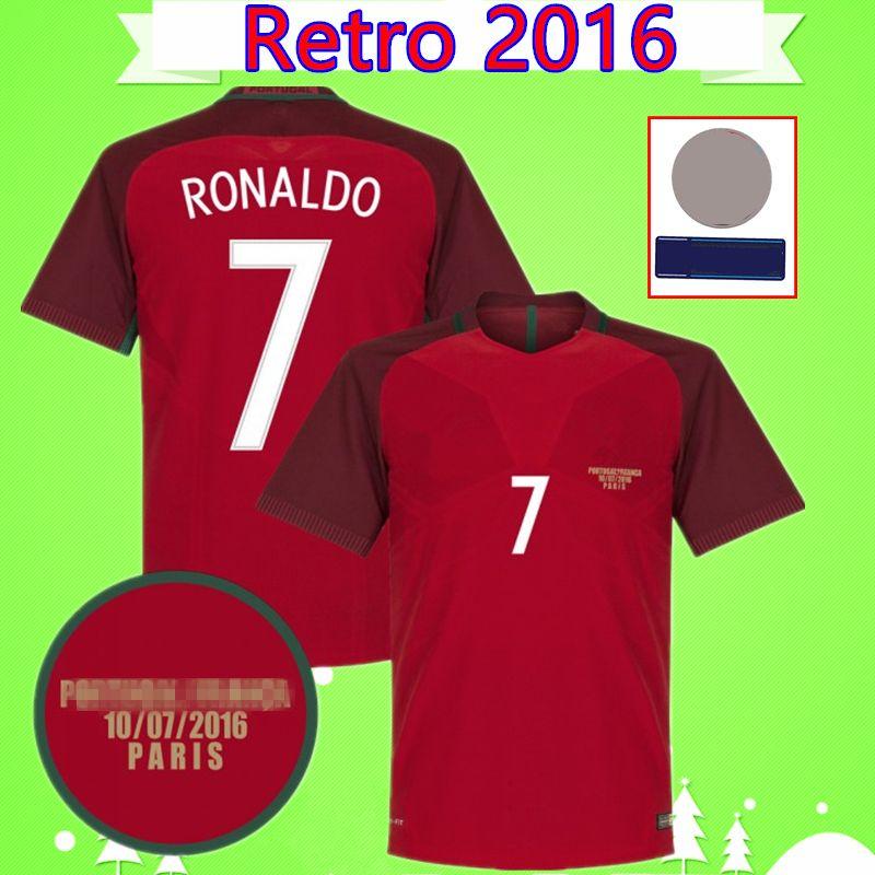 Portugal soccer jersey football shirt Maglie calcio RONALDO NANI RETRO 2016 FIGO CARVALHO maglia classica RUI COSTA maglia calcio vintage QUARESMA Camisa de futebol home rosso