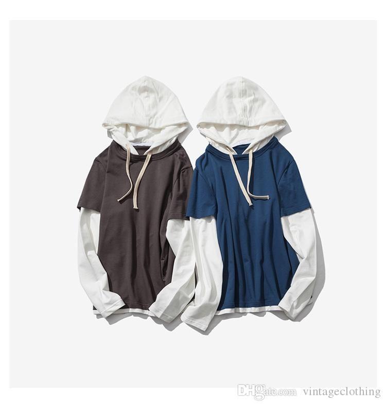 Contraste para hombre otoño del resorte del color sólido Casual Pactwork Hoodies flojos de muy buen gusto Pullover masculinos Sudaderas Tops
