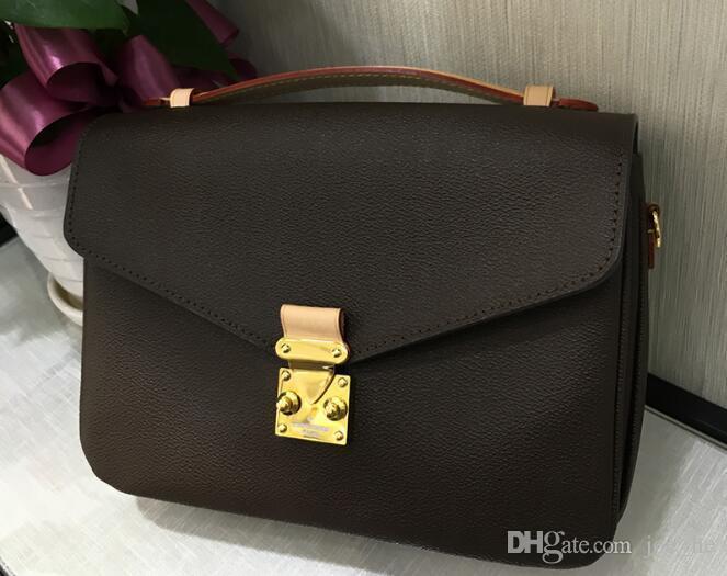 Designer-shipping high quality pu leather women's Brown message Pochette Metis handbag pochette Metis shoulder bags crossbody Retro bag