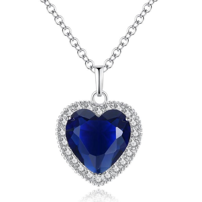 Colar de Cristal Estilo Europeu Moda Coração Azul austríaco colar de Mulheres Slides coração pingente de colar amor Clavícula Medalhão Jóias