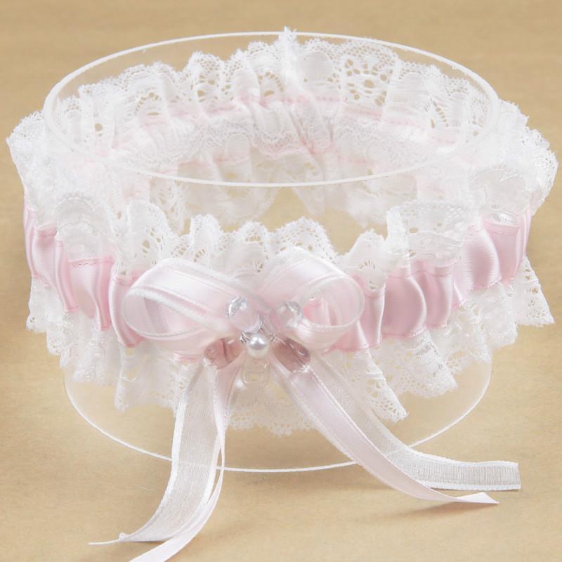 Forniture del merletto del fiore di colore rosa di Bowknot del nastro della perla principessa di sogno della sposa giarrettiera nozze elastico giarrettiera Leg Anello