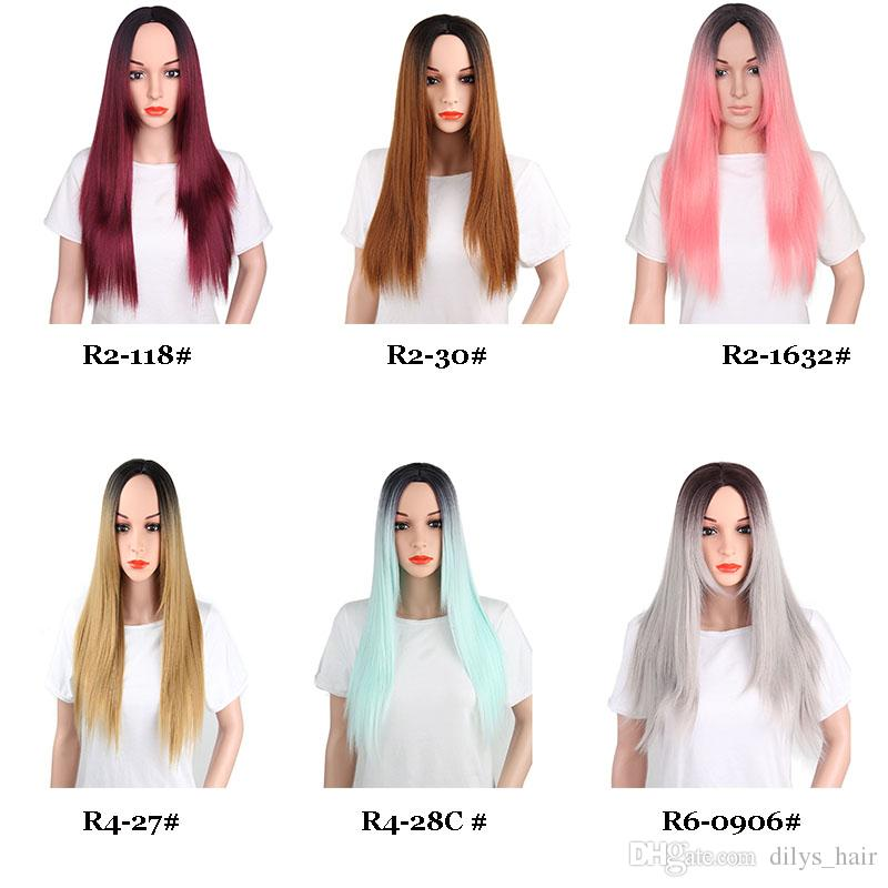 220 جرام / حزمة طويل مستقيم الباروكات الاصطناعية شعري الطبيعي ألوان مختلفة المألوف الحرارة مقاومة الألياف 26 بوصة