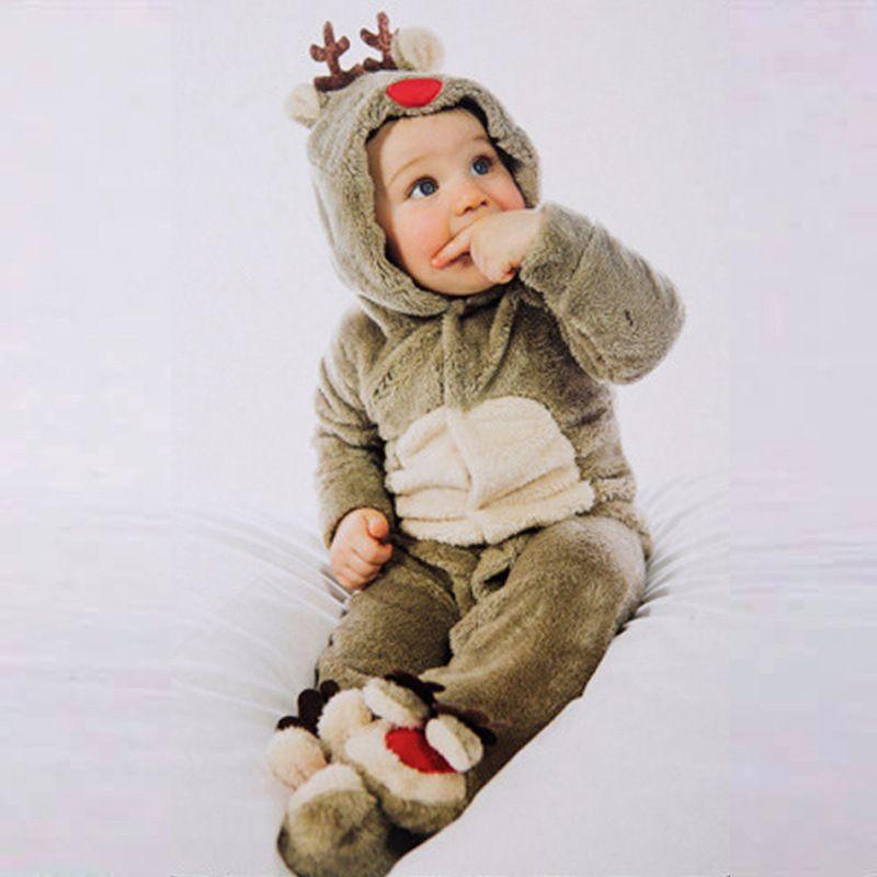 الشتاء 2018 الرضع رومبير طفل بنين بنات بذلة الوليد الملابس مقنع طفل رضيع ملابس لطيف عيد الميلاد الغزلان رومبير ازياء الطفل