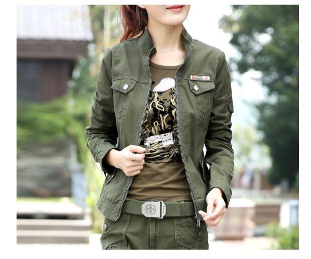 Jaqueta de camuflagem Mulheres Tamanho Grande S-6xl 2018 Primavera Outono Casuais Estilo Namorado Magro Exército Verde Stand Pescoço Zíper feminino