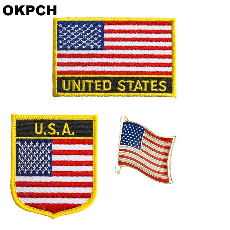 США патч значок 3 шт. Набор патчей для одежды DIY украшения PT0121-3