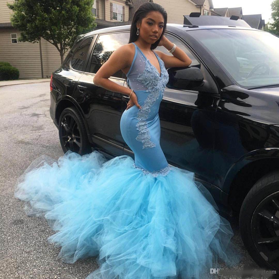Impresionantes vestidos de fiesta de sirena de niña negra Vestidos de noche con escote en V de color azul cielo claro Vestidos de fiesta Vestidos de fiesta de tul Vestido formal