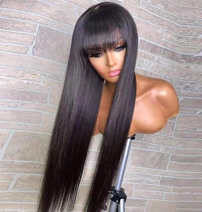 Verschlussperücke mit Bang Seidig Gerade 10A Grade Brasilianische Jungfrau Menschliches Haar Glueless Full Spitze Perücken für Schwarze Frau Schnelle Express Lieferung