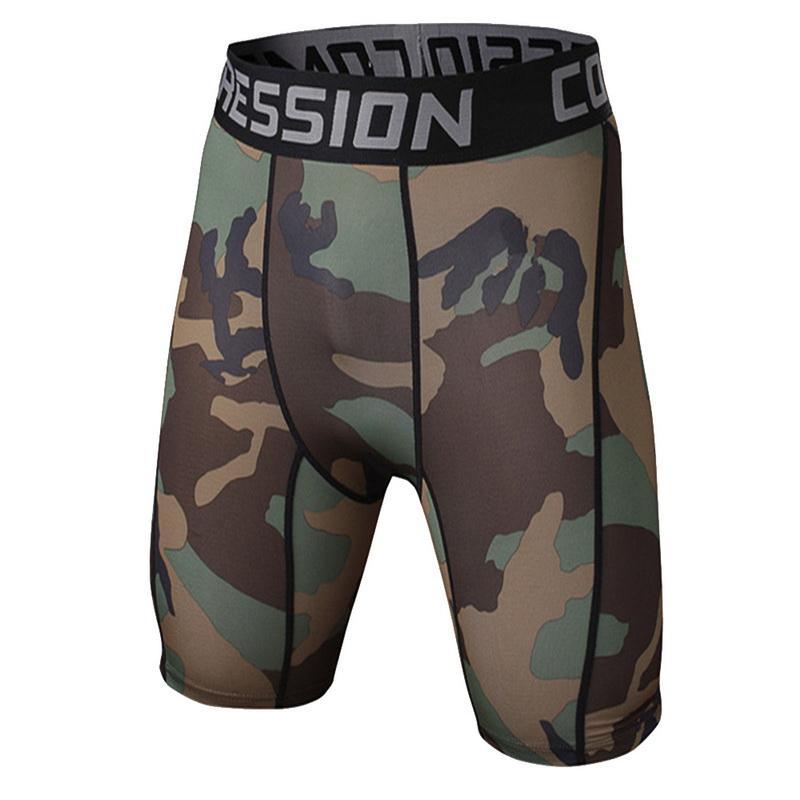 2020 esporte funcionar calças justas dos homens camuflagem calças de secagem rápida Shorts Verão de Fitness Shorts Compressão calças stretch