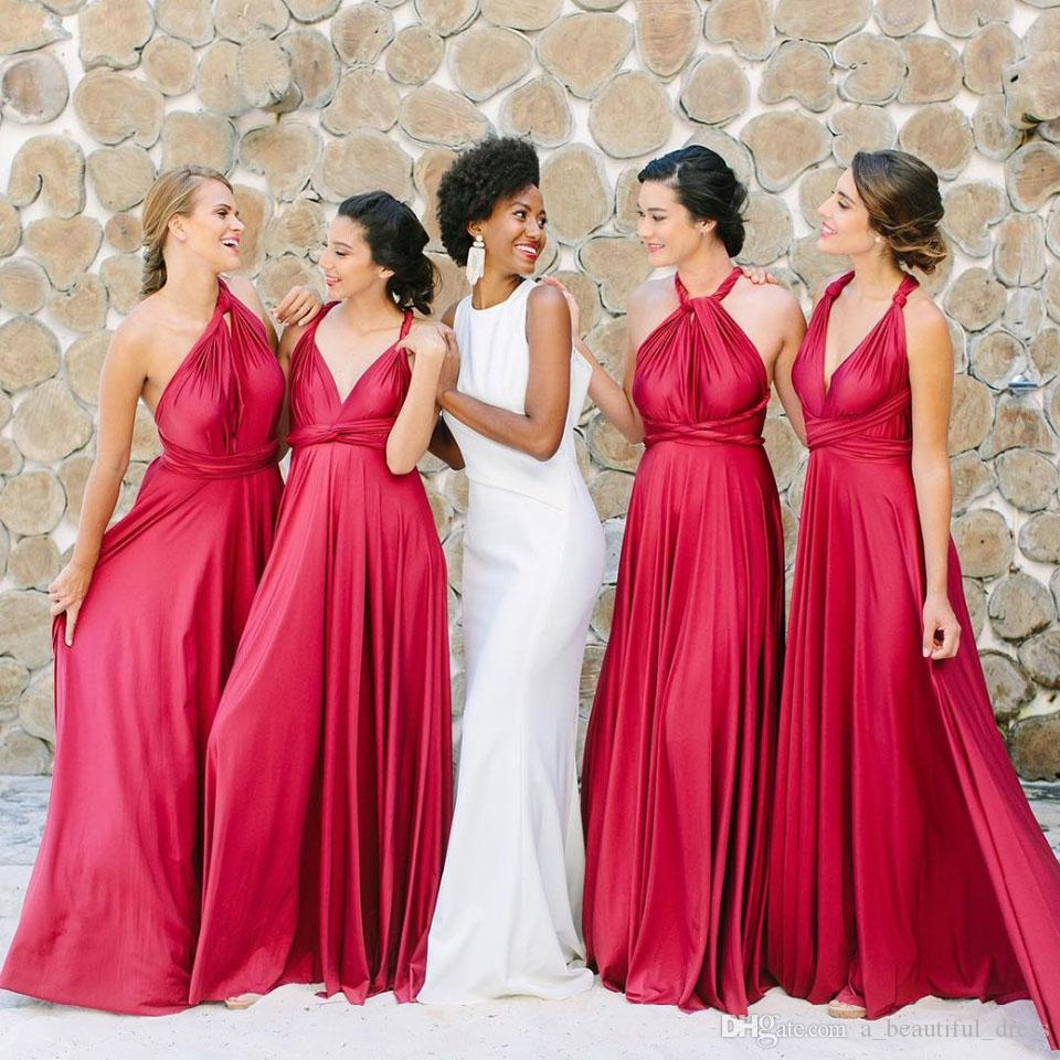 De Festa Longo Vestido Sexy Backless robe de demoiselle d'honneur manches Halter spaghetti bretelles parole longueur mariage Guest Dresses