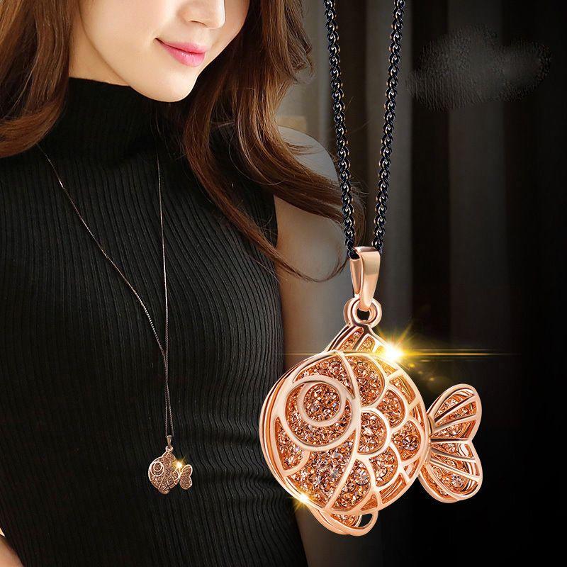 versión coreana de la nueva cadena cristalina del suéter de damas al por mayor collar de pescados de la manera joyería pendant729