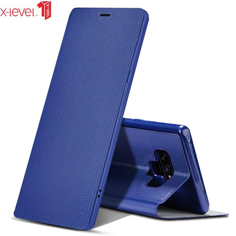 إلى Samsung Galaxy Note 9 Case X-Level Original PU Leather Slim Slim Flip Cover Cover Case for Samsung note 9 Cases9