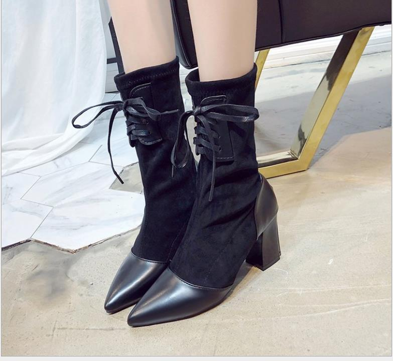 Vente-automne chaud et d'hiver nouvelles bottes en daim en Europe et les bottes des femmes élastiques États-Unis