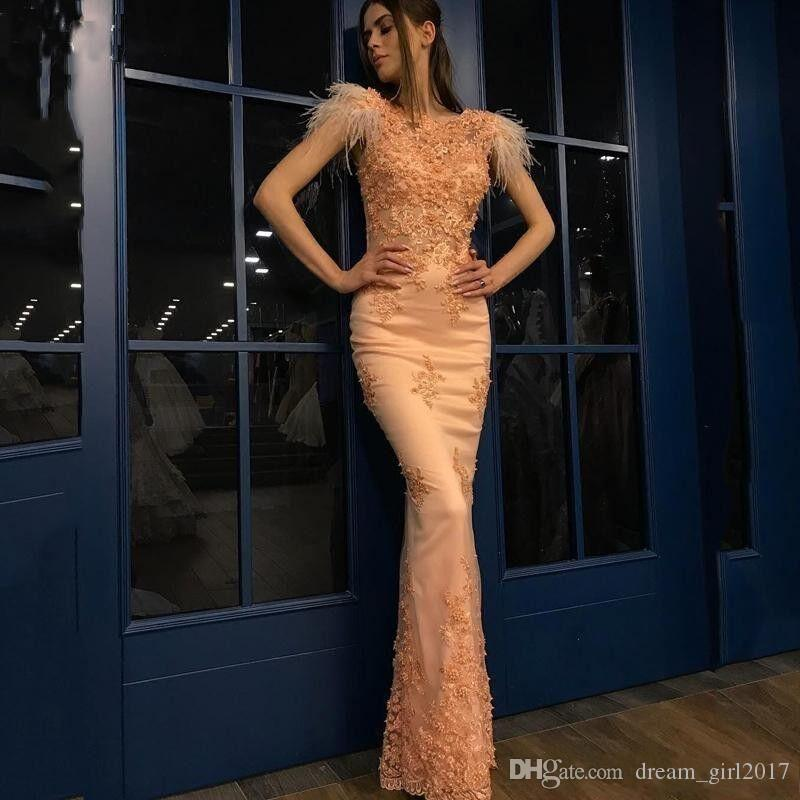 New Arrival Prom Dresses with Feather Lace Applique Zipper Back Floor Length Evening Dresses 2019 Capped Sleeves Formal Party Gowns