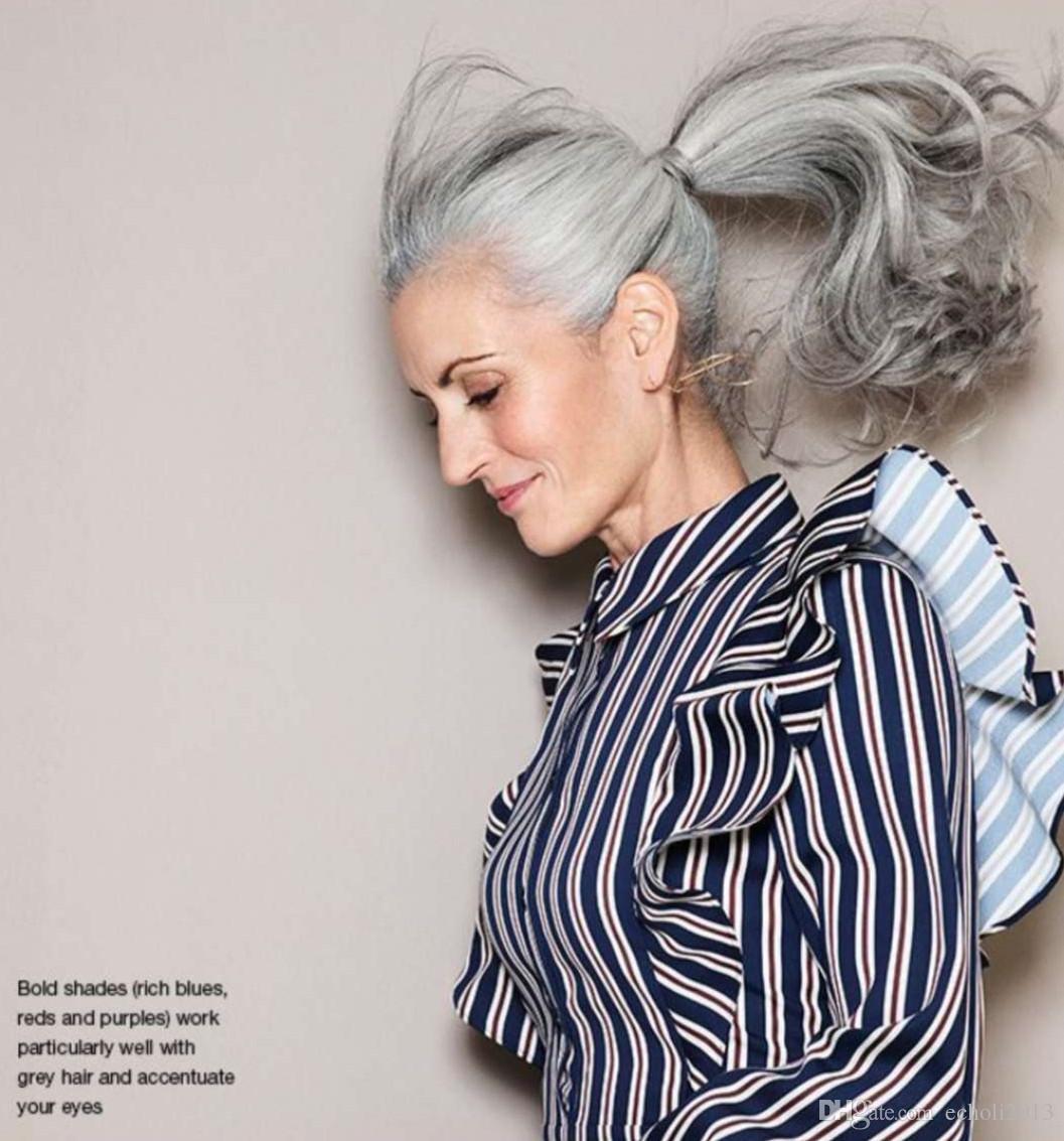 L'estensione umana 120g dei capelli della coda di cavallo di gray della coda di cavallino grigia d'argento reale dei capelli di ponytail libera la nave