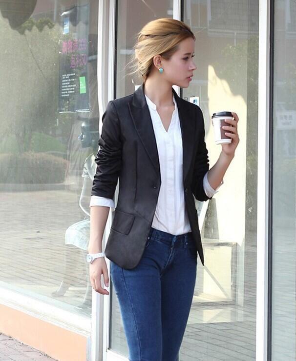 Mode Frauen Blazer Falten Führer Jacke Anzug Jacke Langarm Slim Büro Frauen S-XXL