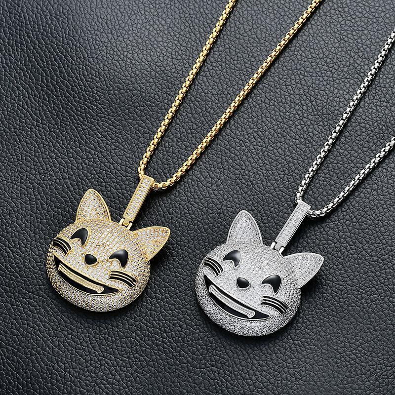 Personalidade dos desenhos animados pequeno Kitty pendeloque Cut Sorriso encantador Expressão animal Colar Hiphop Hip Hop Jewelry