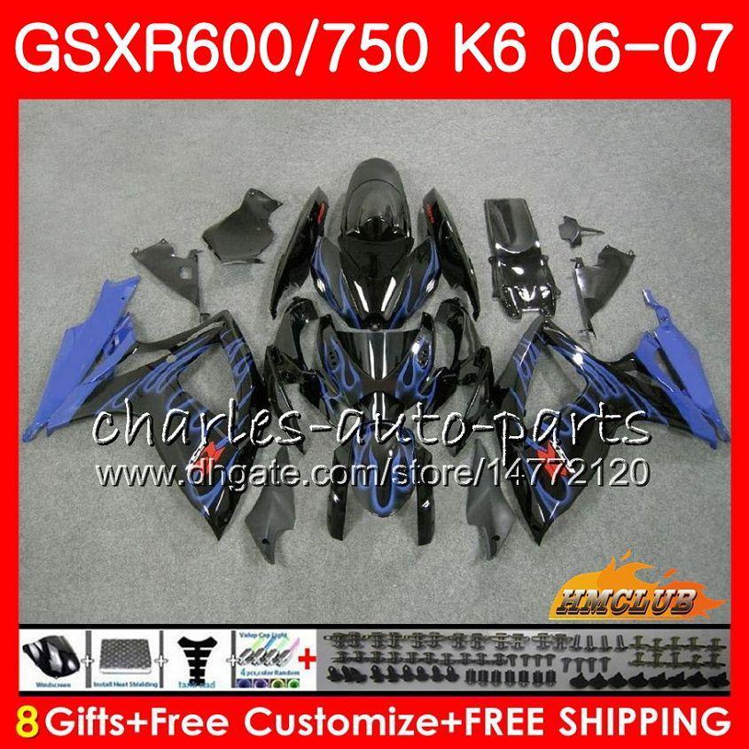 鈴木GSX R600 GSX-R750 GSXR-600 BLUE FLAMES HOT GSXR600 06-07 8HC.37 GSX R750 GSXR 600 750 06 07 K6 GSXR750 2006 2007フェアリングキット