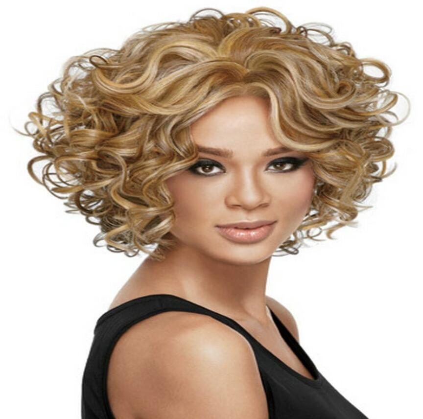 Details über Damen-Perücke Damenmode Curly Mixed Blonde natürliche Haar-Perücken + Wig Cap