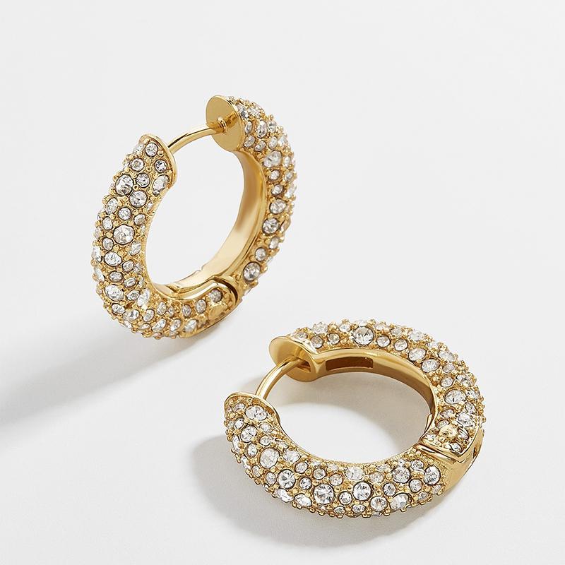 Rhinestone di cristallo di nuovo modo orecchini del polsino Huggie orecchini per le donne Circle Cartilagine impilabile orecchini a cerchio dei monili penetranti