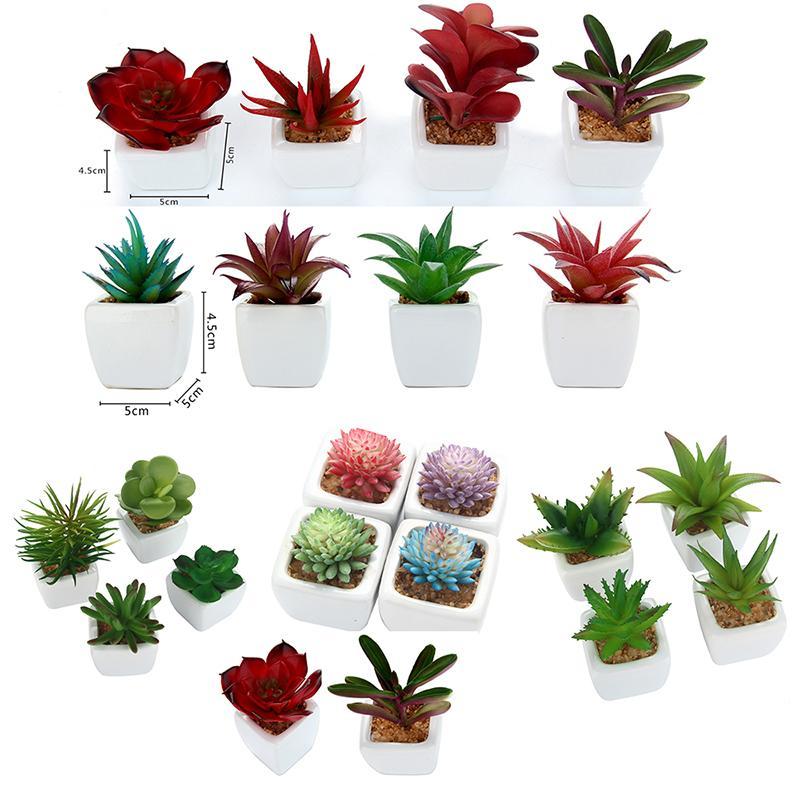 Nuove 4pcs progettano / succulente artificiale Piante + quadrato bianco vasi di ceramica falsi Aloe Lotus piante rare in vaso Paesaggio di giardino domestiche