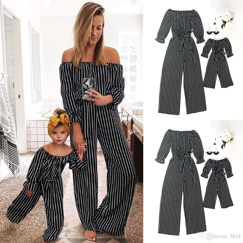 Stripe Pattern Dress for Mother and Daughter Matching Outfits Mommy and Me Clothes Nightgowns