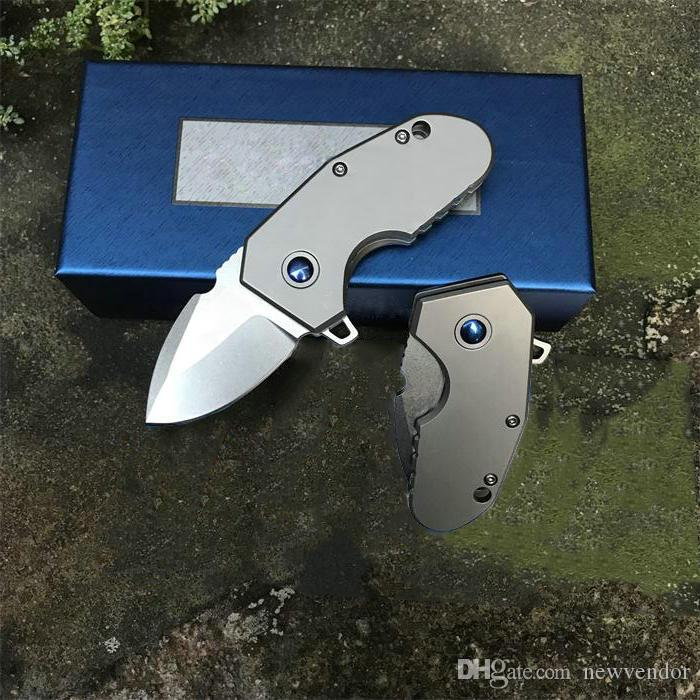 Nueva bola de cojinete llegada Flipper cuchillo plegable M390 Stone Wash lámina TC4 aleación de titanio de la manija con la caja original del paquete
