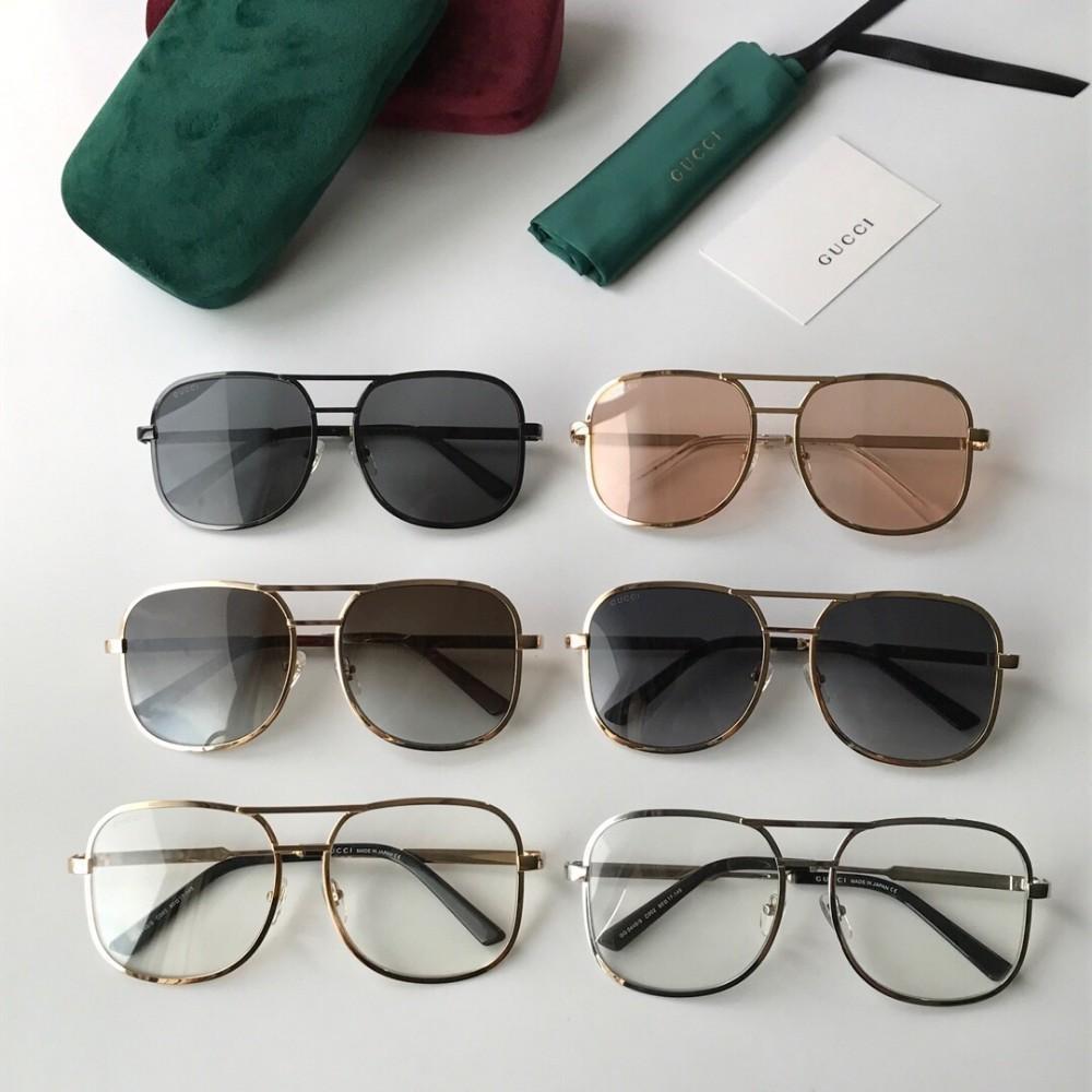Guc 2019 novos homens óculos de armação grande óculos de sol do estilo de moda melhor qualidade simples óculos de sol de metal 60 * 17 * 145