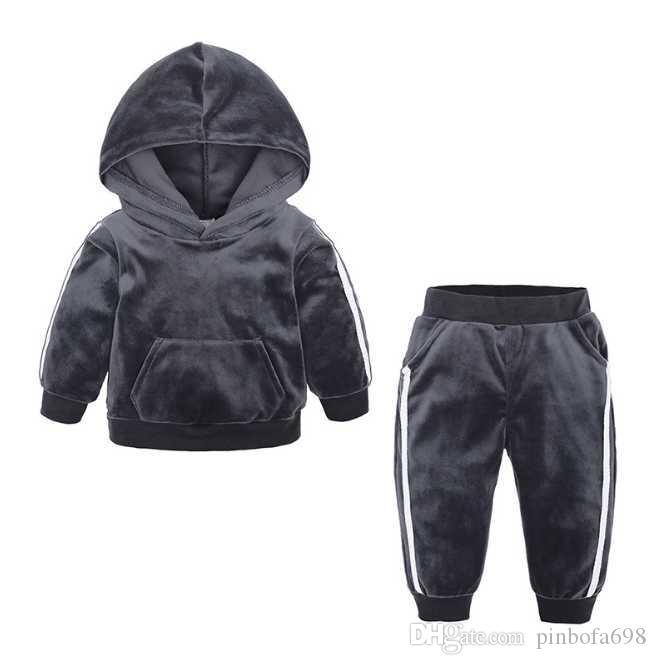 2020 çocuk takım elbise çocuk kukuletalı uzun kollu pantolon pamuk elbise erkek ve kız bahar ve sonbahar 2 takım